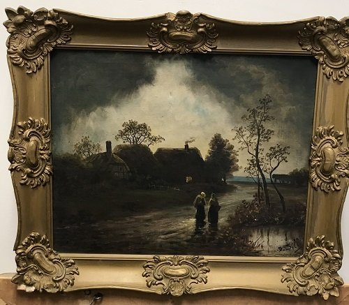 Circa 19th C. Oil Painting Signed B. SILL 21 X 24 - 2