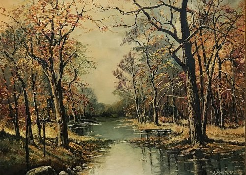 Signed M. R Mohring painting Creek Forest 36 x 45