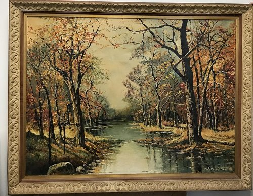 Signed M. R Mohring painting Creek Forest 36 x 45 - 2