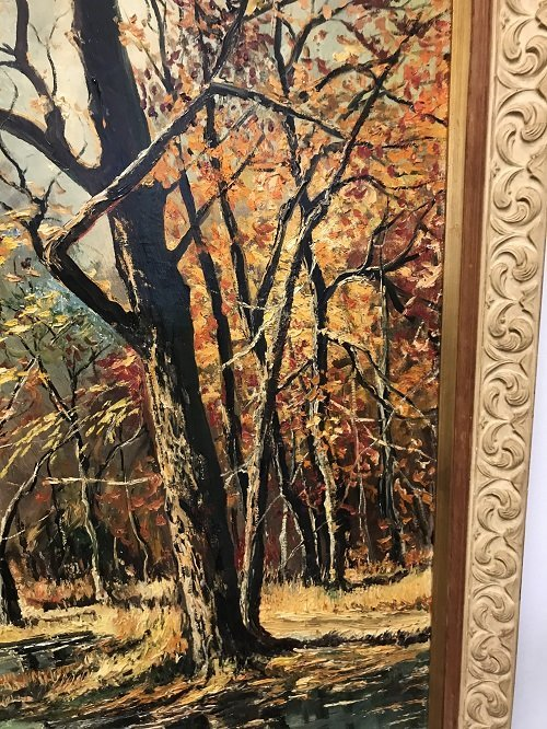 Signed M. R Mohring painting Creek Forest 36 x 45 - 3
