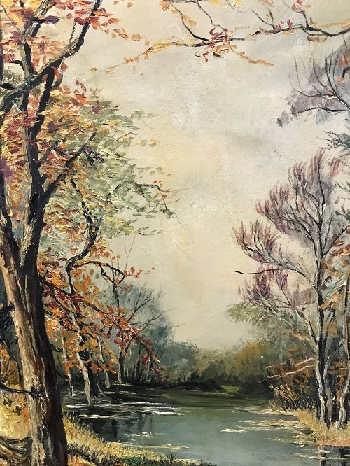 Signed M. R Mohring painting Creek Forest 36 x 45 - 5