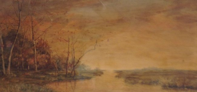 Signed Marie Shields Myer Painting W/C 25 X 14