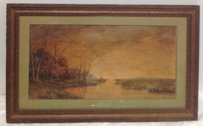 Signed Marie Shields Myer Painting W/C 25 X 14 - 2