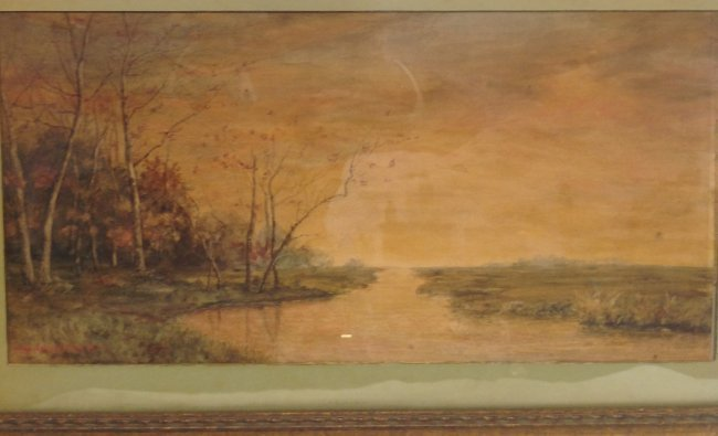 Signed Marie Shields Myer Painting W/C 25 X 14 - 3