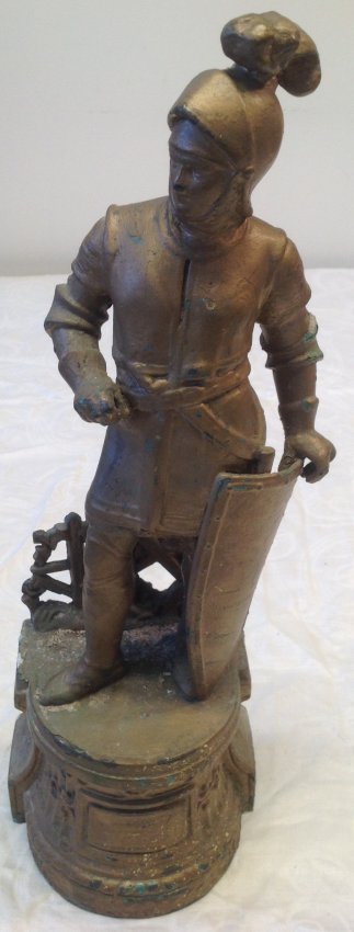 Gallant European Solider Statue W/ Shield 17 In. H