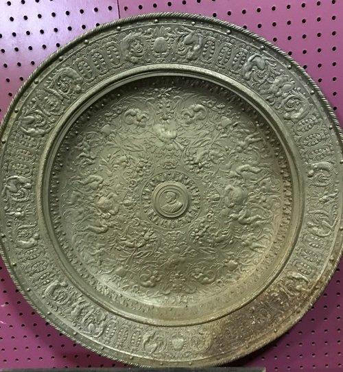 Ancient Overweight European Bronze Plate 25 H x 25 W