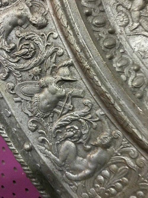 Ancient Overweight European Bronze Plate 25 H x 25 W - 2