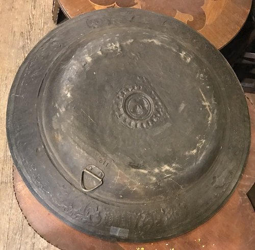 Ancient Overweight European Bronze Plate 25 H x 25 W - 5
