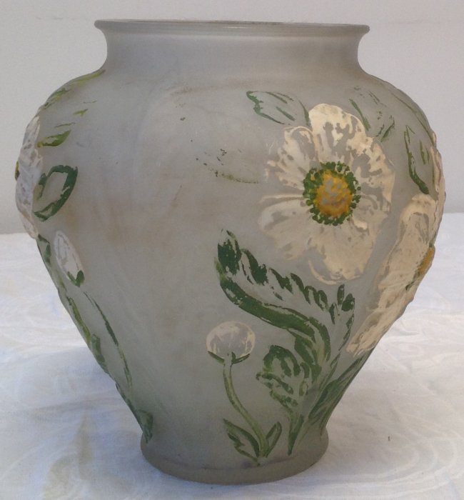 Hand Color Art Glass Floral Vase