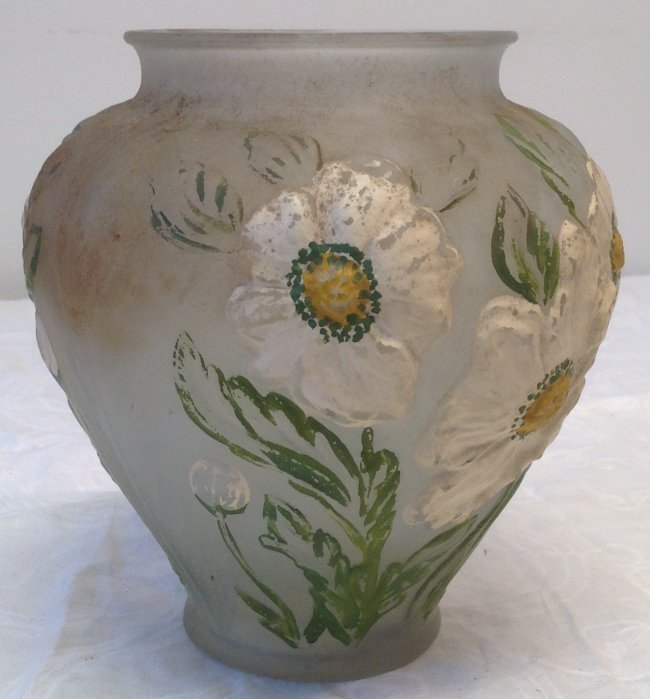Hand Color Art Glass Floral Vase - 4