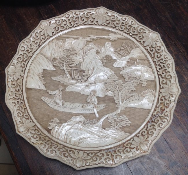 Asian Robust DYNASTY Ceramic Ivory Style Plate