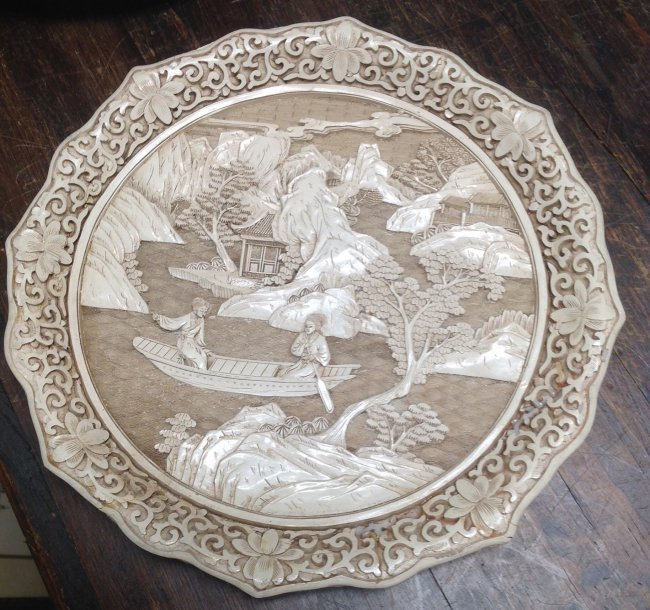 Asian Robust DYNASTY Ceramic Ivory Style Plate - 2
