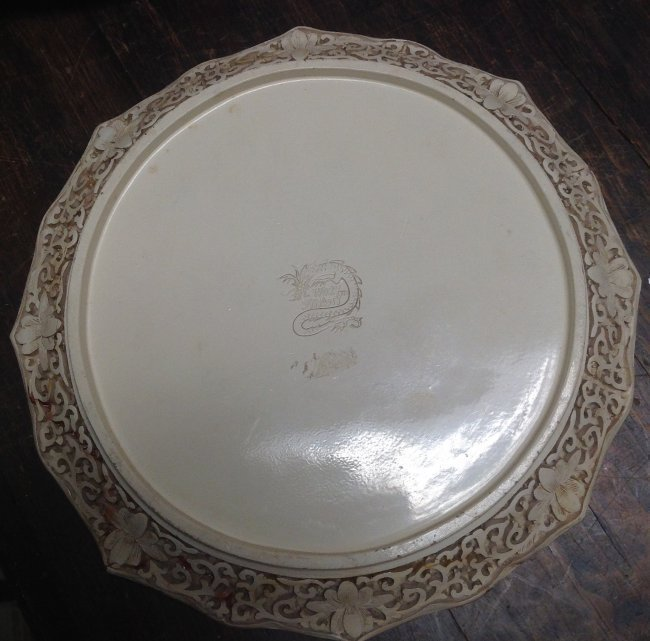 Asian Robust DYNASTY Ceramic Ivory Style Plate - 3