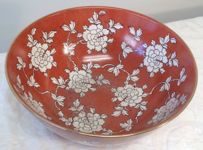 Chinese Dish Bowl Floral Orange Color 6 x 10