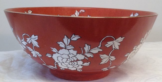 Chinese Dish Bowl Floral Orange Color 6 x 10 - 2