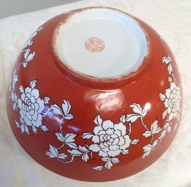 Chinese Dish Bowl Floral Orange Color 6 x 10 - 3