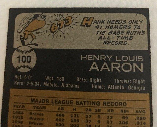 1973 Topps Hank Aaron Atlanta Braves #100 Baseball Card - 3