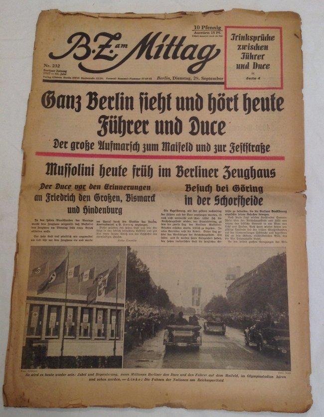 1937 Hitler Meets Mussiollini Original Newspaper