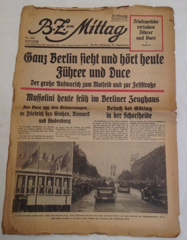 1937 Hitler Meets Mussiollini Original Newspaper