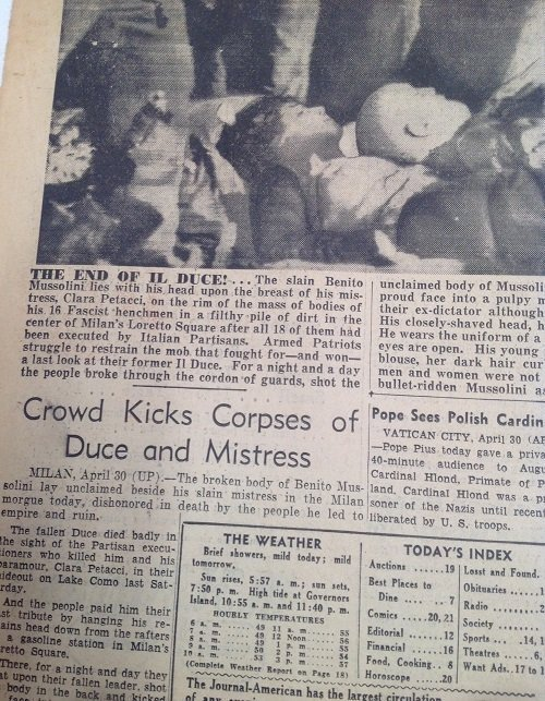 Mussionlini Excuted New York Journal 1945 - 4