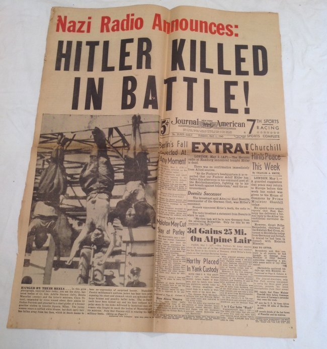 Mussolini Hanging & Hitler Dead NYJournal 1945