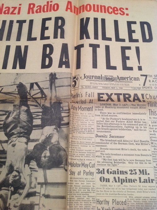 Mussolini Hanging & Hitler Dead NYJournal 1945 - 2