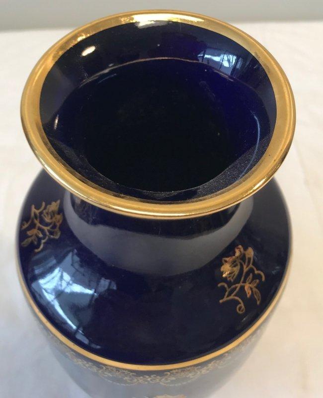 Limoges Vase Purple Gold Accents 9 H - 3