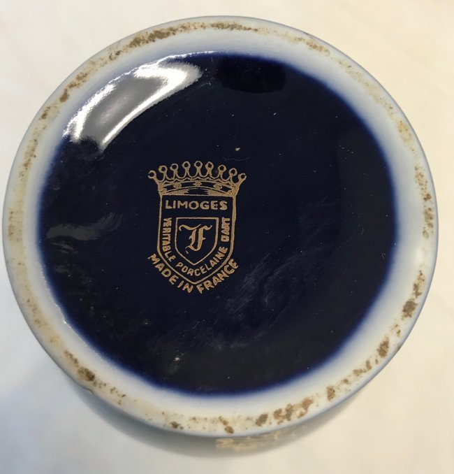 Limoges Vase Purple Gold Accents 9 H - 4