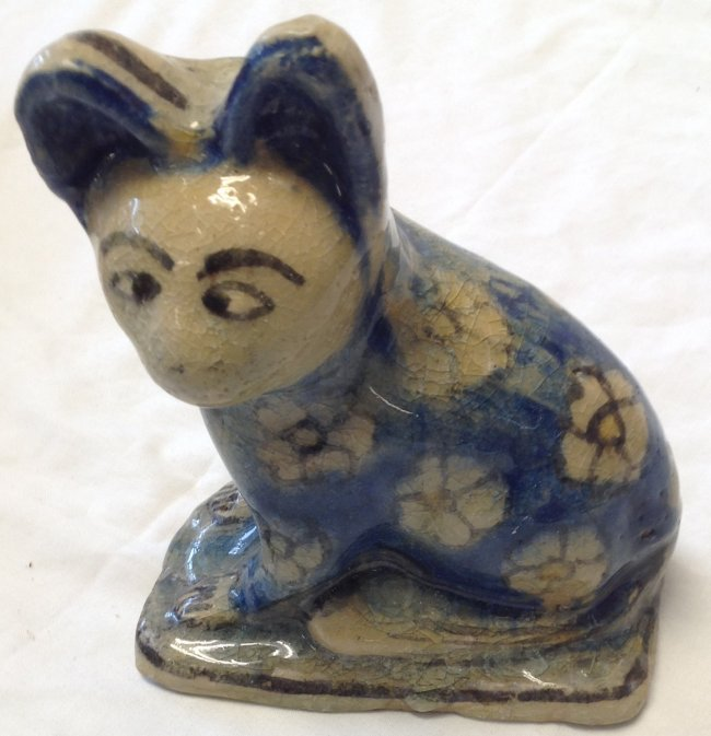 GLAZED PORCELAIN CAT FIGURINE - HAND PAINTED 7 X 5.5