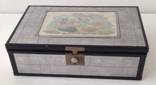CHROMIUM PLATE CIGAR / TRINKET BOX- PATENT#