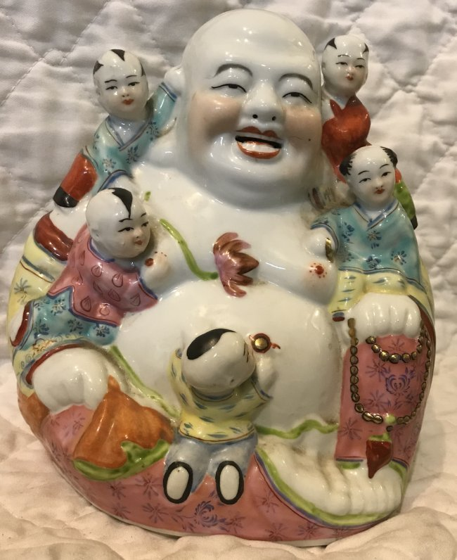 Vintage Chinese Hotei 9 H X 9 W. - 2