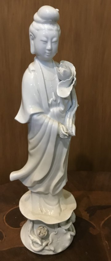 Vintage KWAN YE Asian Lady White Figurine 12 H.