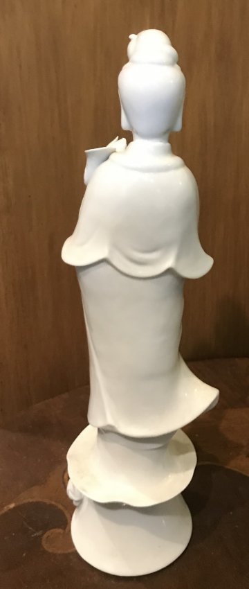 Vintage KWAN YE Asian Lady White Figurine 12 H. - 2