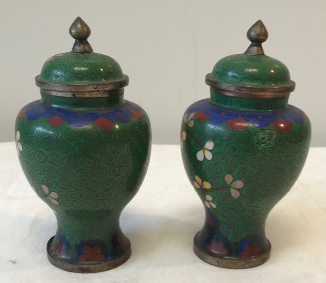 Gorgeous Two Cloisonne Urn / Jar with lid 5.5 H