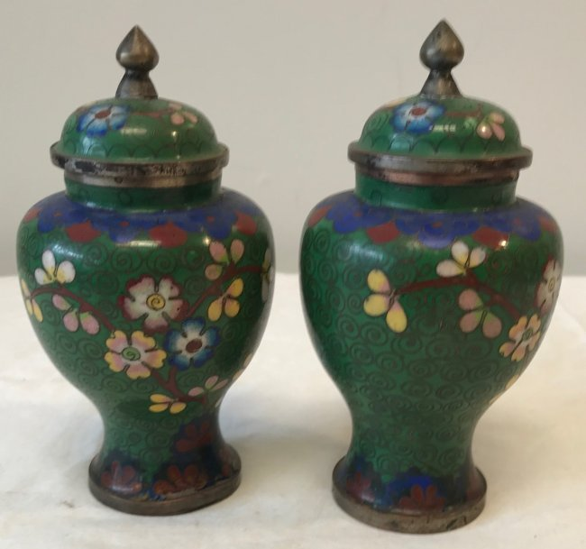 Gorgeous Two Cloisonne Urn / Jar with lid 5.5 H - 2