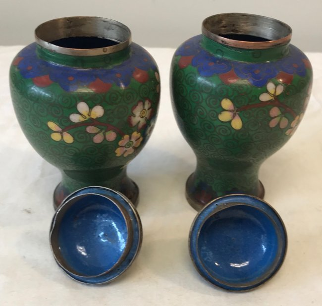 Gorgeous Two Cloisonne Urn / Jar with lid 5.5 H - 3