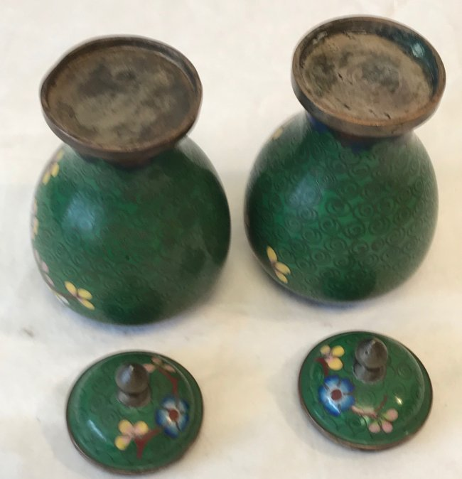 Gorgeous Two Cloisonne Urn / Jar with lid 5.5 H - 4