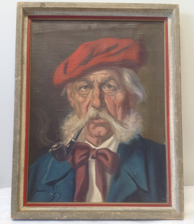 Signed Painting Man Smoking Pipe Portrait 18 x 14 - 2