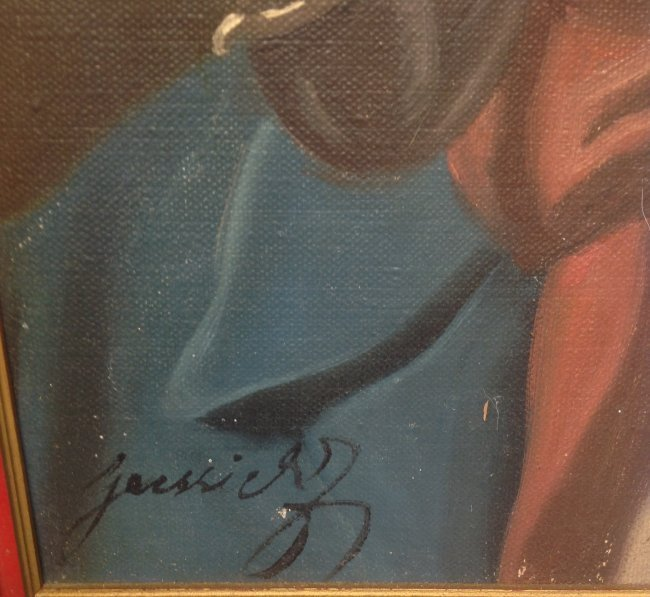 Signed Painting Man Smoking Pipe Portrait 18 x 14 - 3
