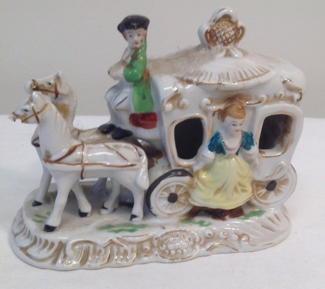 Horse Carriage Figurine - Marked