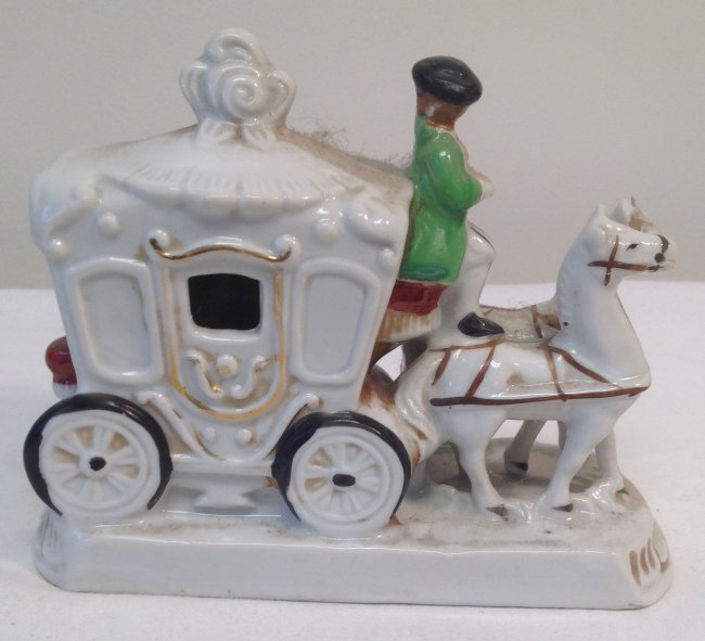 Horse Carriage Figurine - Marked - 2