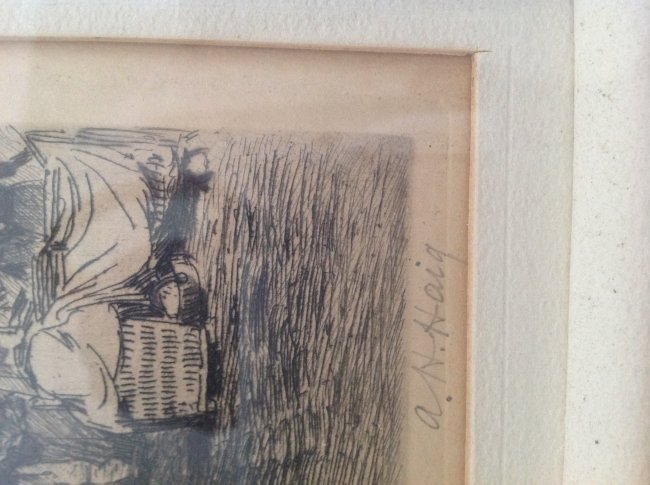Signed Axel Herman Haig Framed Etching Print 28 X 23 - 4