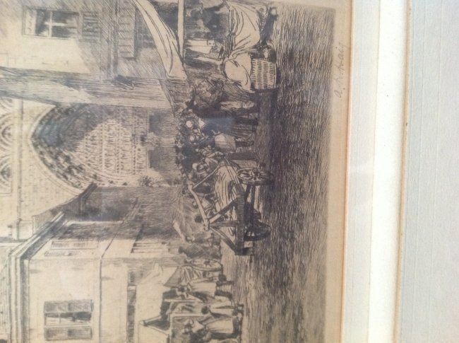 Signed Axel Herman Haig Framed Etching Print 28 X 23 - 5