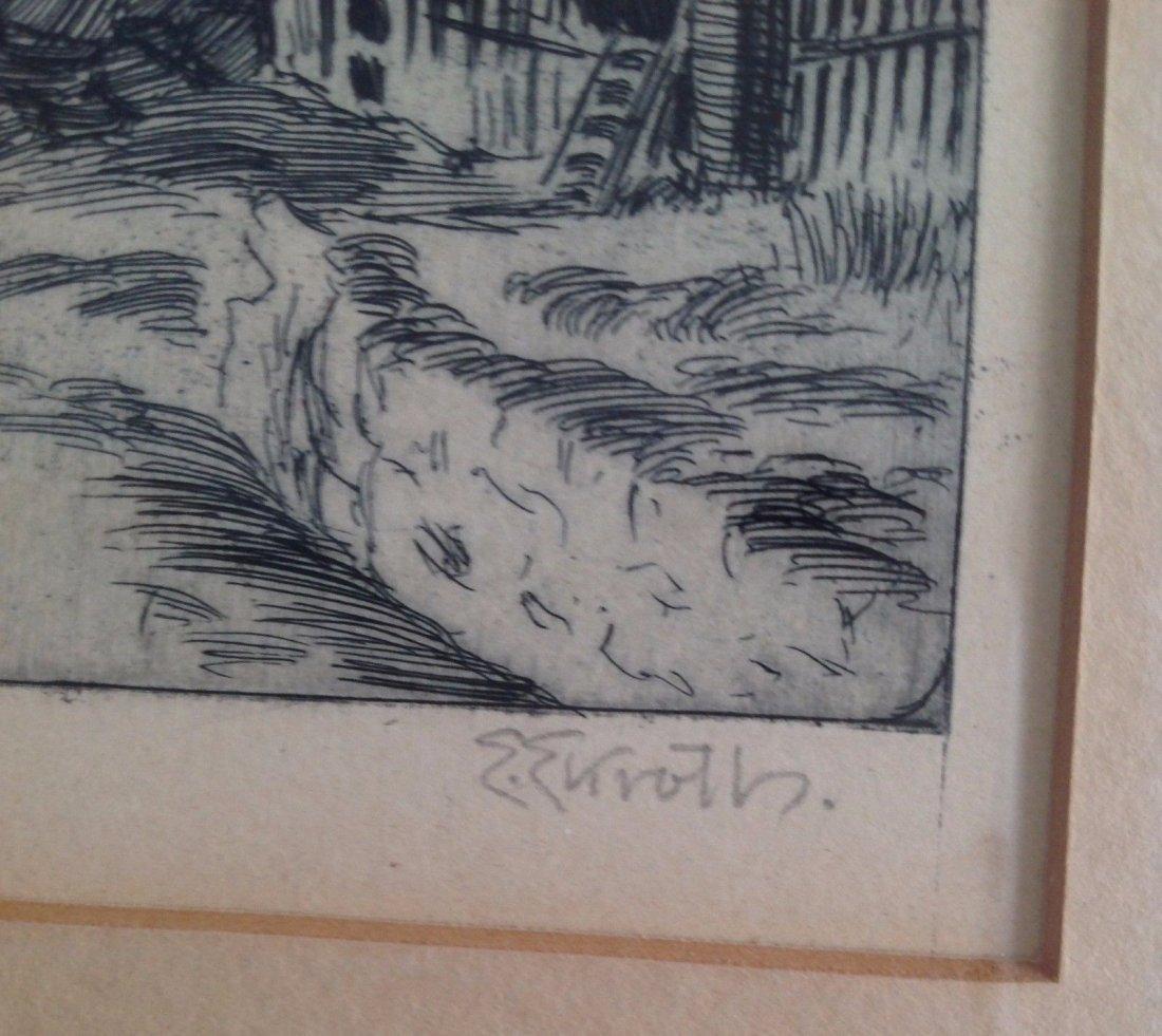Signed Framed E Ekroth Etched Print - 4