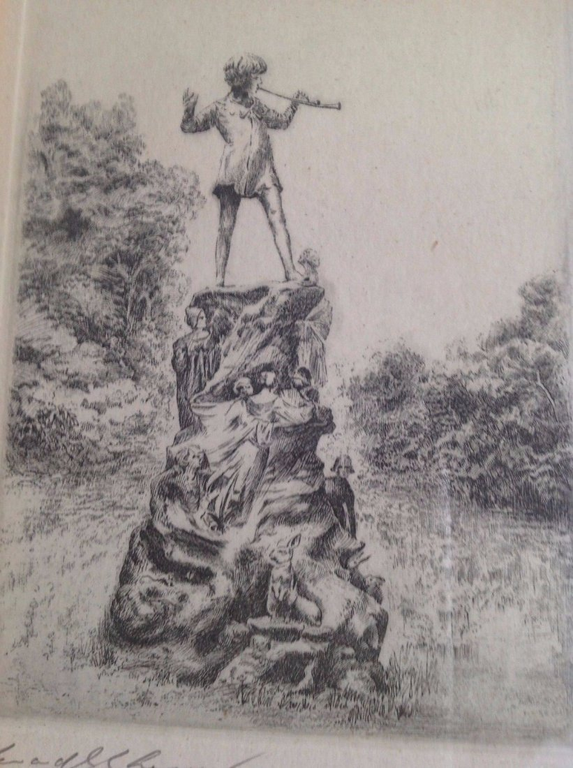 Signed Framed Etching Depicting Pied Piper Image