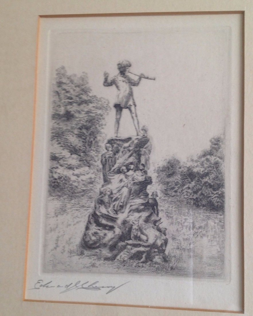 Signed Framed Etching Depicting Pied Piper Image - 2