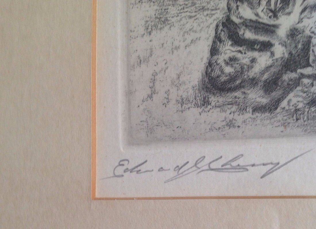 Signed Framed Etching Depicting Pied Piper Image - 4