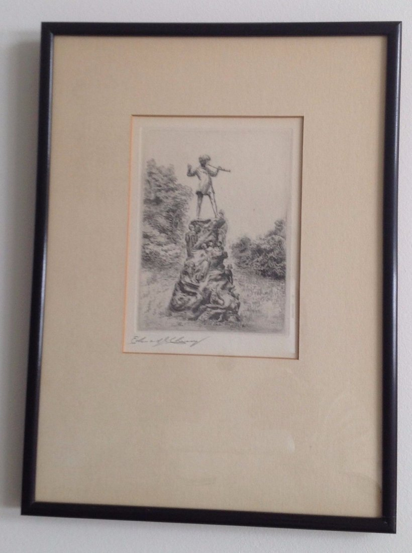 Signed Framed Etching Depicting Pied Piper Image - 5