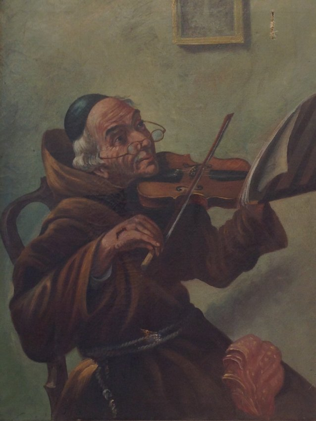 J. Fox painting Monk / Friar playing the Violin.