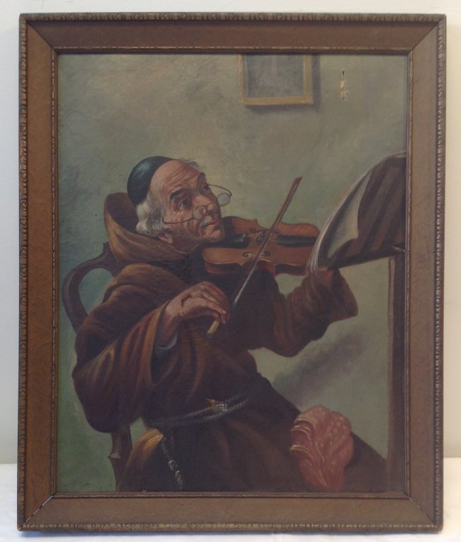 J. Fox painting Monk / Friar playing the Violin. - 2